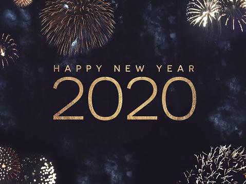 Happy New Year 2020 Text Holiday Graphic with Gold Fireworks in Night Sky